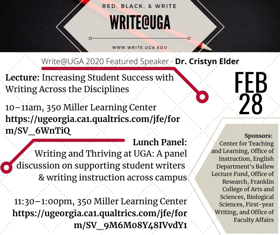 Write@UGA 2020 events flyer with information about Dr. Cristyn Elder's lecture and lunch panel on Feb 28.